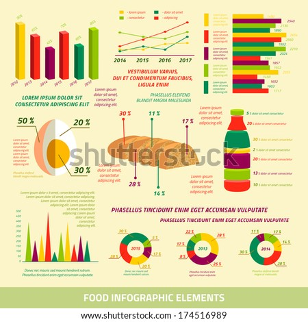 Food infographics flat design elements of farming charts and graphs vector illustration - stock vector