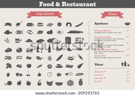 food ingredients & restaurant food menu - stock vector