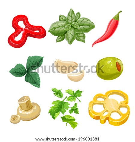 Food ingredients Series 1 - yellow bell pepper, olive, hot pepper, basil, parsley, garlic, marinated mushrooms.  Isolated on white background - stock vector