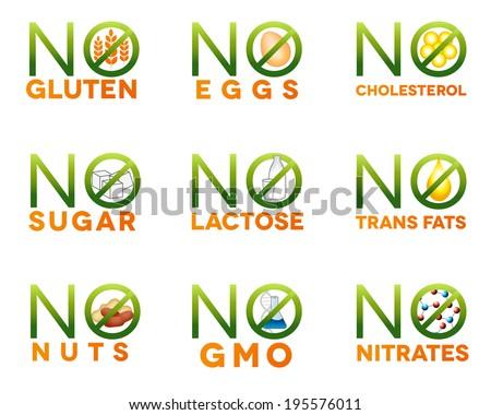 Food intolerance icons, health care diets such as no gluten, no sugar, no nuts, no GMO, no nitrates, no trans fats, no cholesterol, no eggs, no lactose. Isolated on white background. - stock vector