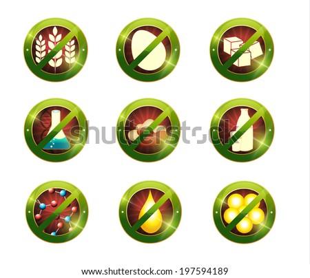 Food intolerance signs. Signs for food not contain specific product Health care diets such as no gluten, no sugar, no nuts, no GMO, no nitrates, no trans fats, no cholesterol, no eggs, no lactose - stock vector