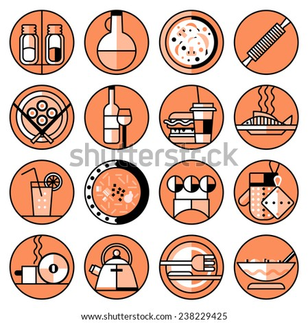 Food kitchen and cooking line icons set with pizza sushi salad isolated vector illustration - stock vector
