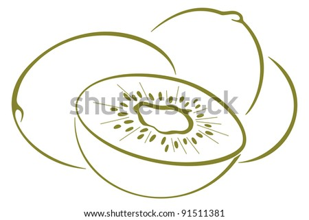 Kiwi Fruit Silhouette Food Kiwi Fruit Green