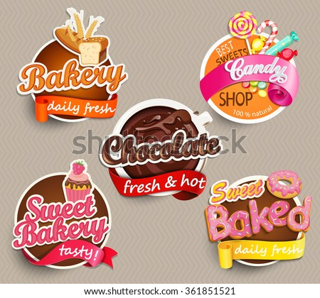 Food Label or Sticker - bakery, chocolate, sweet baked, candy,sweet bakery - Design Template. Vector illustration. - stock vector