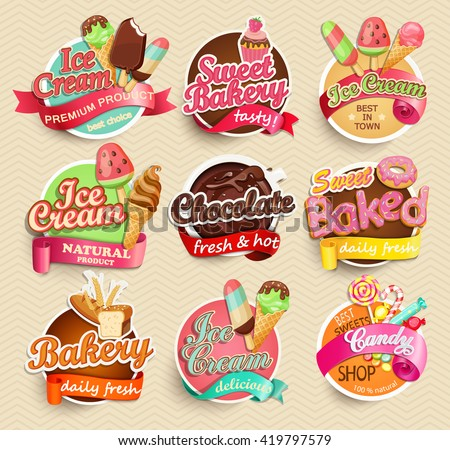 Food Label or Sticker - bakery, ice-cream, chocolate, sweet baked, candy,sweet bakery - Design Template. Vector illustration.