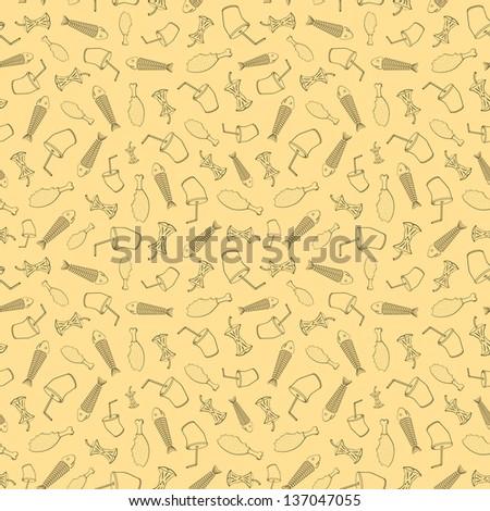 Food leavings (fish, apple, chicken, drink) on beige background - stock vector