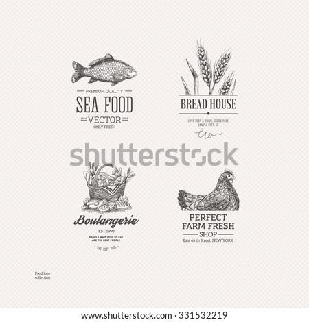 Food logo collection. Engraved logo set. Vector illustration - stock vector