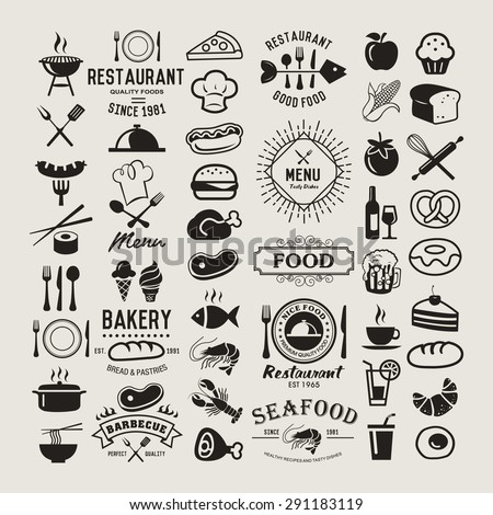 Food logotypes set. Restaurant vintage design elements, logos, badges, labels, icons and objects - stock vector