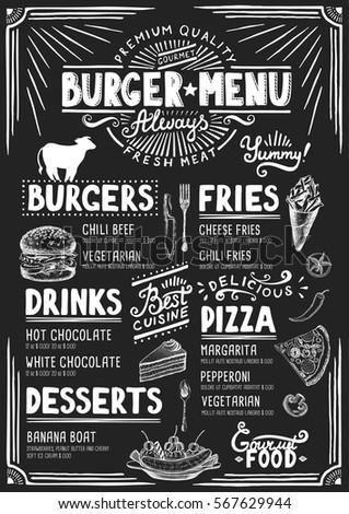 Food Menu Restaurant Cafe Design Template Stock Vector