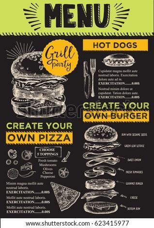 food menu restaurant cafe design template stock vector royalty free