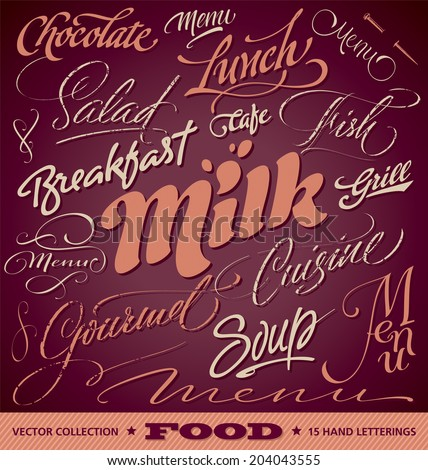FOOD menu headlines set of 15 hand letterings -- custom handmade calligraphy, vector (eps8) - stock vector