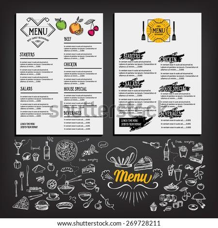 Food menu, restaurant template design. Flyer cafe. Brochure vintage. Cook idea. - stock vector