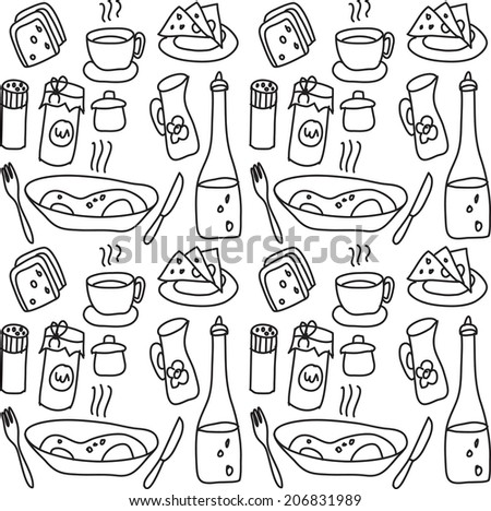 Food objects seamless pattern Black and white doodles vector illustration. - stock vector