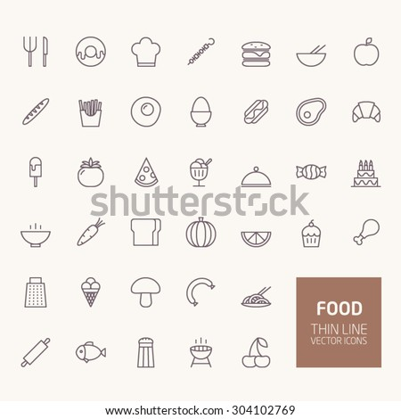 Food Outline Icons for web and mobile apps - stock vector