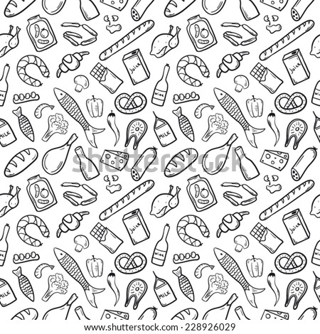 Food patten black and white - stock vector