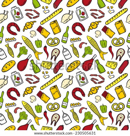 Food pattern color bright - stock vector
