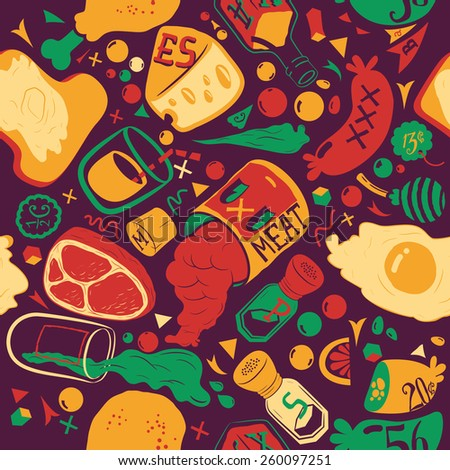 Food pattern. Seamless texture. Suitable for food packaging. Retro style. Soothing colors. - stock vector
