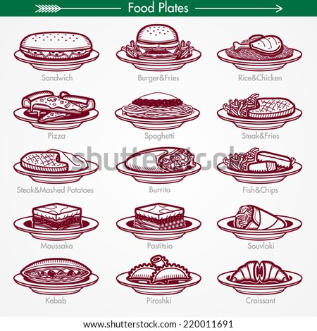 Food Plates From Around the World. Pictogram Style - stock vector