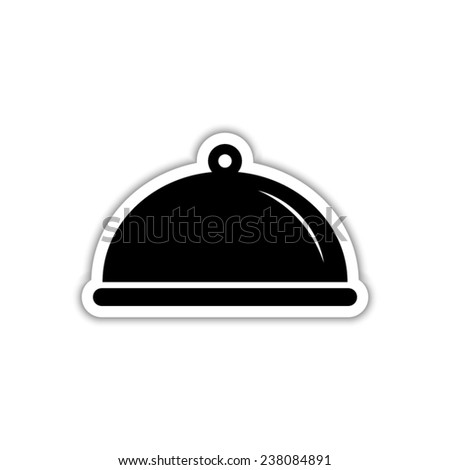 Food platter serving sign - black vector icon with shadow