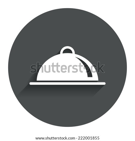 Food platter serving sign icon. Table setting in restaurant symbol. Circle flat button with shadow. Modern UI website navigation. Vector - stock vector