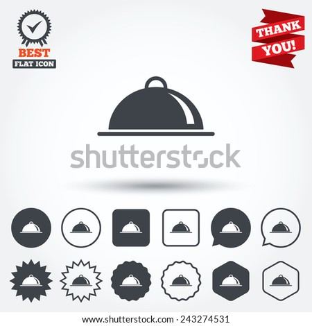 Food platter serving sign icon. Table setting in restaurant symbol. Circle, star, speech bubble and square buttons. Award medal with check mark. Thank you ribbon. Vector - stock vector
