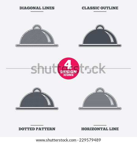 Food platter serving sign icon. Table setting in restaurant symbol. Diagonal and horizontal lines, classic outline, dotted texture. Pattern design icons.  Vector - stock vector