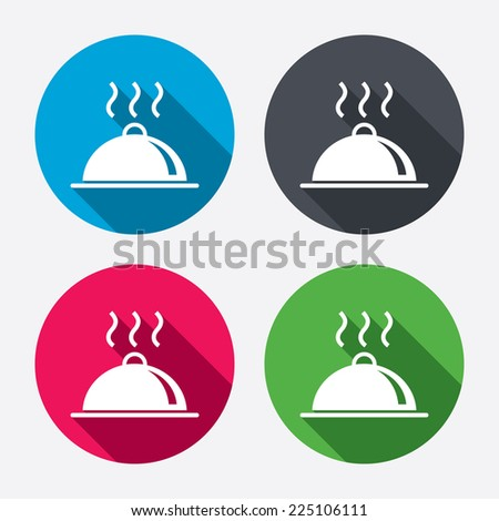 Food platter serving sign icon. Table setting in restaurant symbol. Hot warm meal. Circle buttons with long shadow. 4 icons set. Vector - stock vector