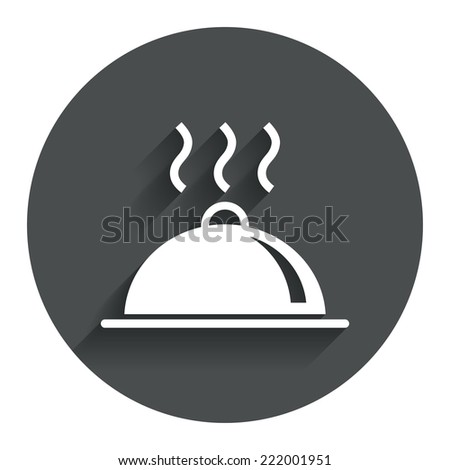 Food platter serving sign icon. Table setting in restaurant symbol. Hot warm meal. Circle flat button with shadow. Modern UI website navigation. Vector - stock vector