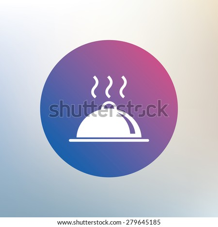 Food platter serving sign icon. Table setting in restaurant symbol. Hot warm meal. Icon on blurred background. Vector - stock vector