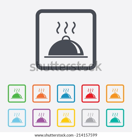 Food platter serving sign icon. Table setting in restaurant symbol. Hot warm meal. Round squares buttons with frame. Vector - stock vector