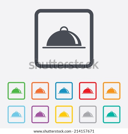 Food platter serving sign icon. Table setting in restaurant symbol. Round squares buttons with frame. Vector - stock vector
