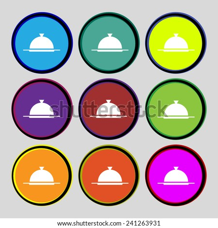 Food platter serving sign icon. Table setting in restaurant symbol. Set colourful buttons. Vector illustration - stock vector