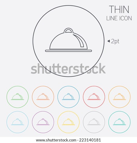 Food platter serving sign icon. Table setting in restaurant symbol. Thin line circle web icons with outline. Vector - stock vector