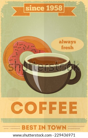 Food Poster. Advertise with Coffee, Donuts. Vector Illustration. - stock vector