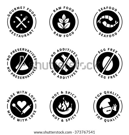 Food product badges collection 2. (Gourmet food, Raw food, No preservatives, No additives, Top quality, Hot & spicy...