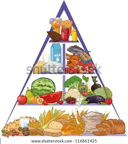 Food pyramid - stock vector