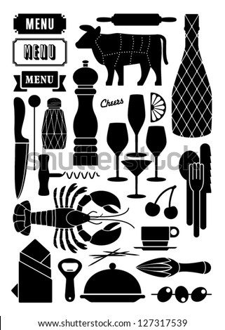 food, restaurant and diner - stock vector