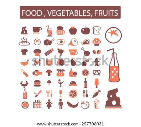 food, restaurant, drink, fruits, vegetables, grocery isolated icons, signs, illustrations concept design set on background for mobile application, website, adverisement, vector - stock vector
