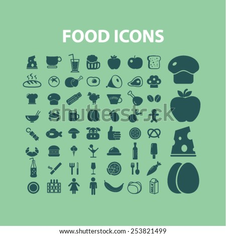 food, restaurant, grocery isolated flat icons, signs, symbols illustrations, images, silhouettes on background, vector - stock vector