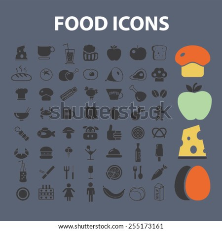 food, restaurant, grocery, meat, vegetables, cheese flat isolated concept design icons, symbols, illustrations on background for web and applications, vector - stock vector