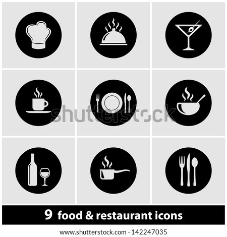 Food & Restaurant Icon Set - stock vector