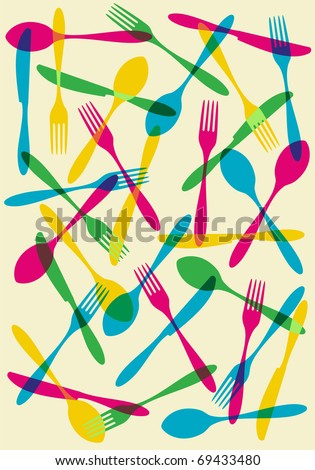 Food, restaurant, menu design background with cutlery silhouette background. Suitable as invitation dinner card. Vector available - stock vector