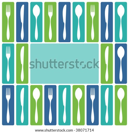 Food, restaurant, menu design with cutlery icons as frame. Fork, knife and spoon silhouettes on different backgrounds. Vector avaliable