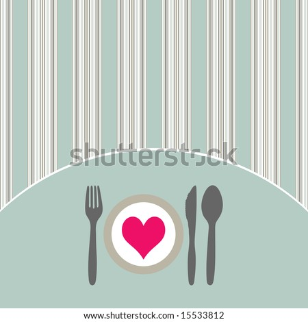 Food - restaurant - menu design with cutlery silhouette and background with vertical stripes - stock vector