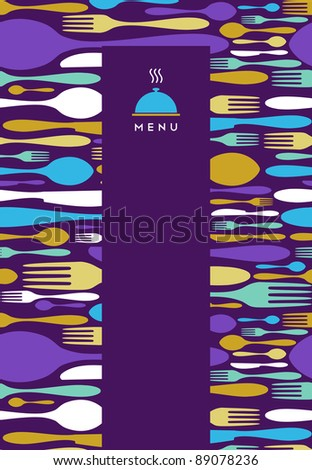 Food, restaurant, menu design with cutlery silhouette background. Suitable as invitation dinner card. - stock vector