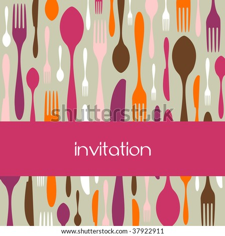 Food, restaurant, menu design with cutlery silhouette background. Warm colors. Suitable as invitation dinner card. - stock vector