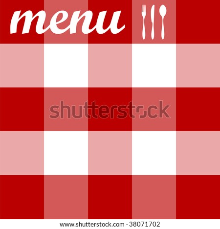 Food, restaurant, menu design with cutlery silhouettes on red tablecloth texture.