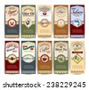 Food retro banners set with pepper olive oil sardines flour salmon isolated vector illustration - stock