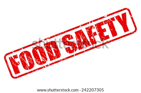 Food safety red stamp text on white - stock vector