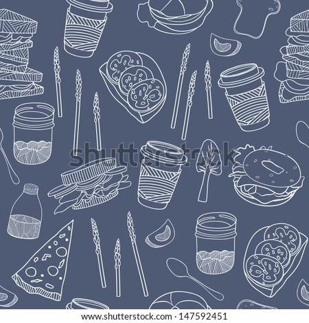 Food seamless pattern. Hand drawn vector illustration for backgrounds, fabric, kitchen and cafe stuff